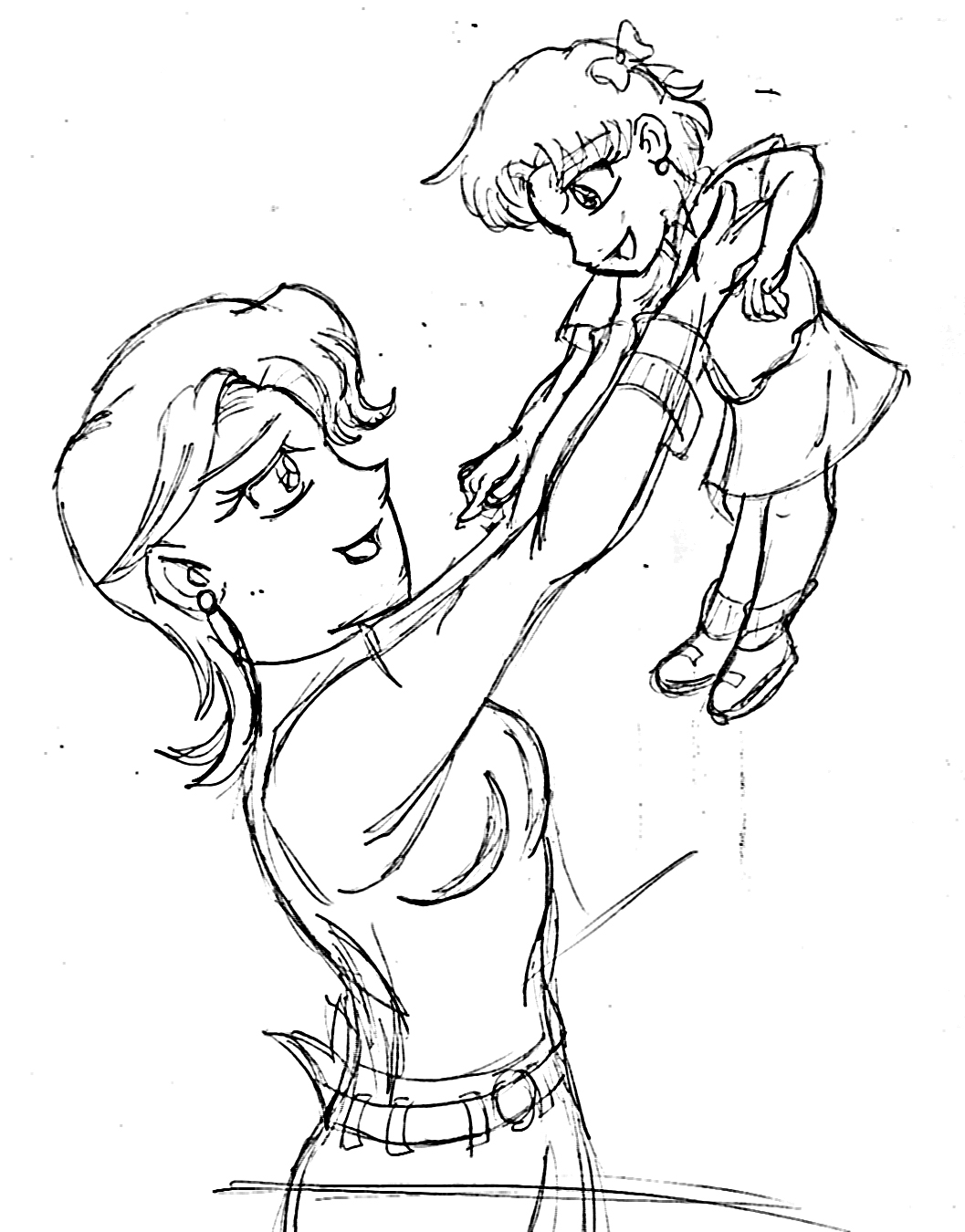 1057x1350 Mother And Daughter Drawings