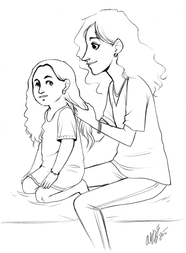 595x809 Mother And Daughter Drawings