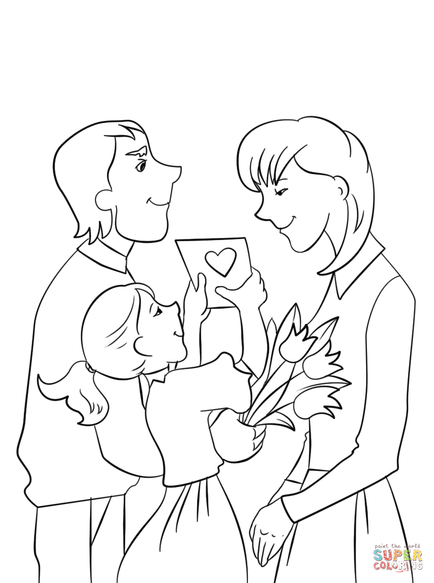 849x1140 Father And Daughter Presenting Mother Flowers And Card