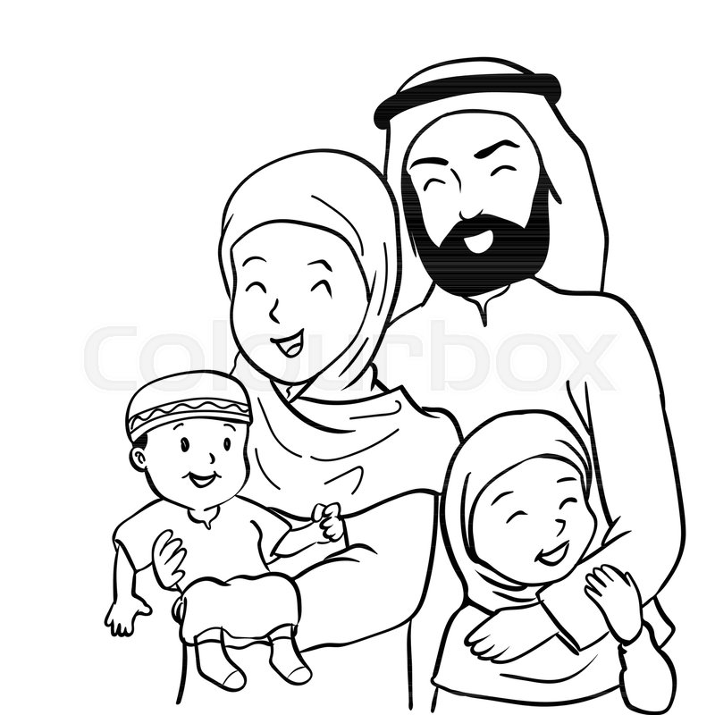 800x800 Hand Drawn Of Happy Muslim Family. Father, Mother, Son