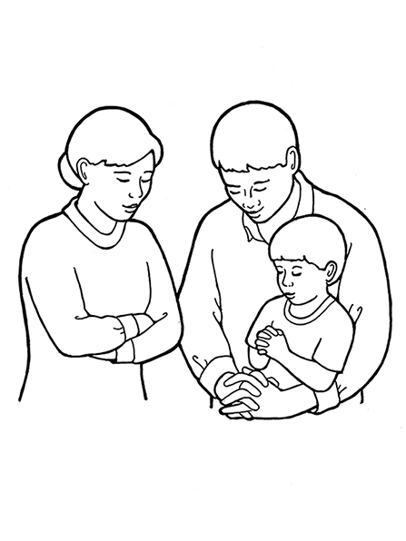 447x596 A Black And White Illustration Of A Mother And Father And Young