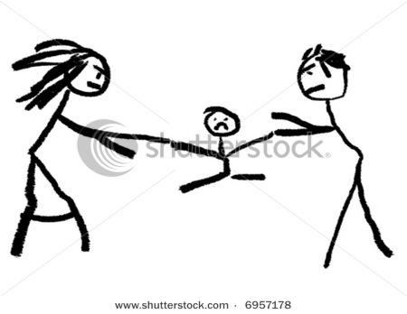 450x348 Of A Childlike Drawing Showing Mom And Dad Fighting Over A Child