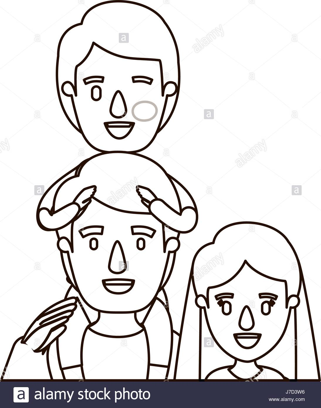 1094x1390 Sketch Contour Caricature Half Body Family Mother And Father