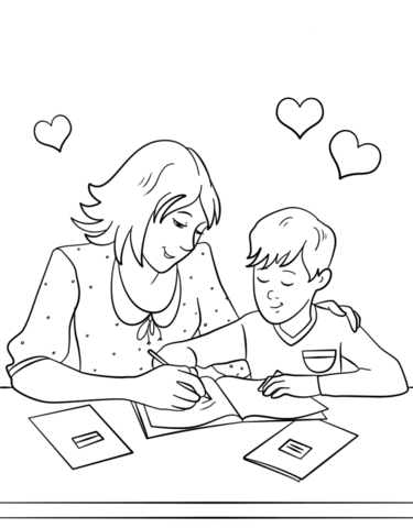 375x480 Mother Helping Her Son With Homework Coloring Page Free
