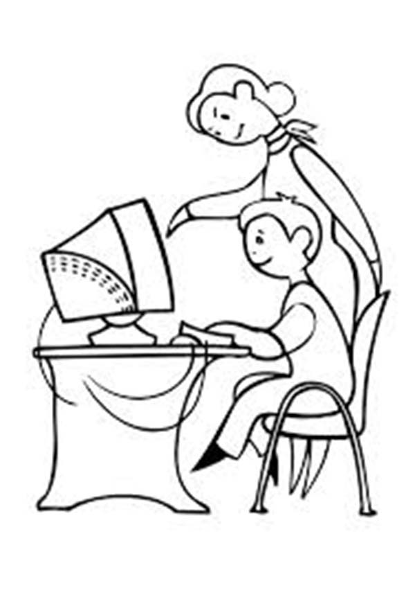 600x852 Mother Teach Her Son Using Computer Coloring Page Sun