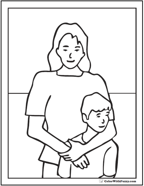 590x762 Mother And Son Coloring Page, Mother And Son Coloring Pages