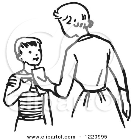 450x470 Clipart Of A Black And White Retro Mother Giving Her Son Money