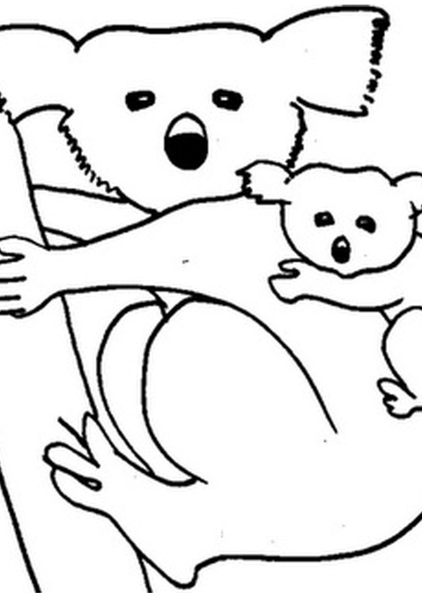 826x1169 Mother Koala And Baby Koala Coloring Pages Coloring Pages