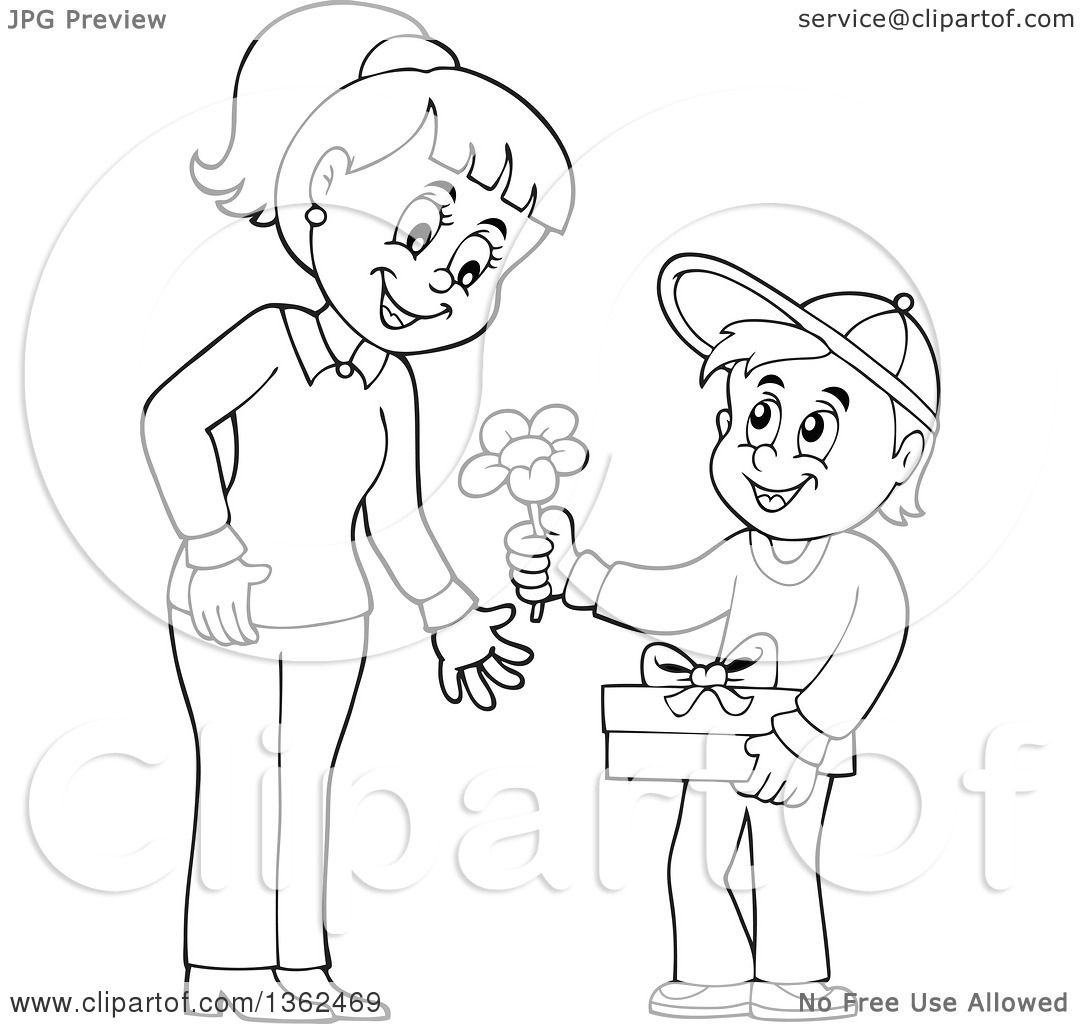 1080x1024 Clipart Of A Cartoon Black And White Thoughtful Boy Giving His Mom