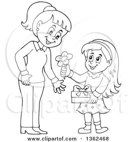 450x470 Clipart Of A Cartoon Black And White Thoughtful Girl Giving Her