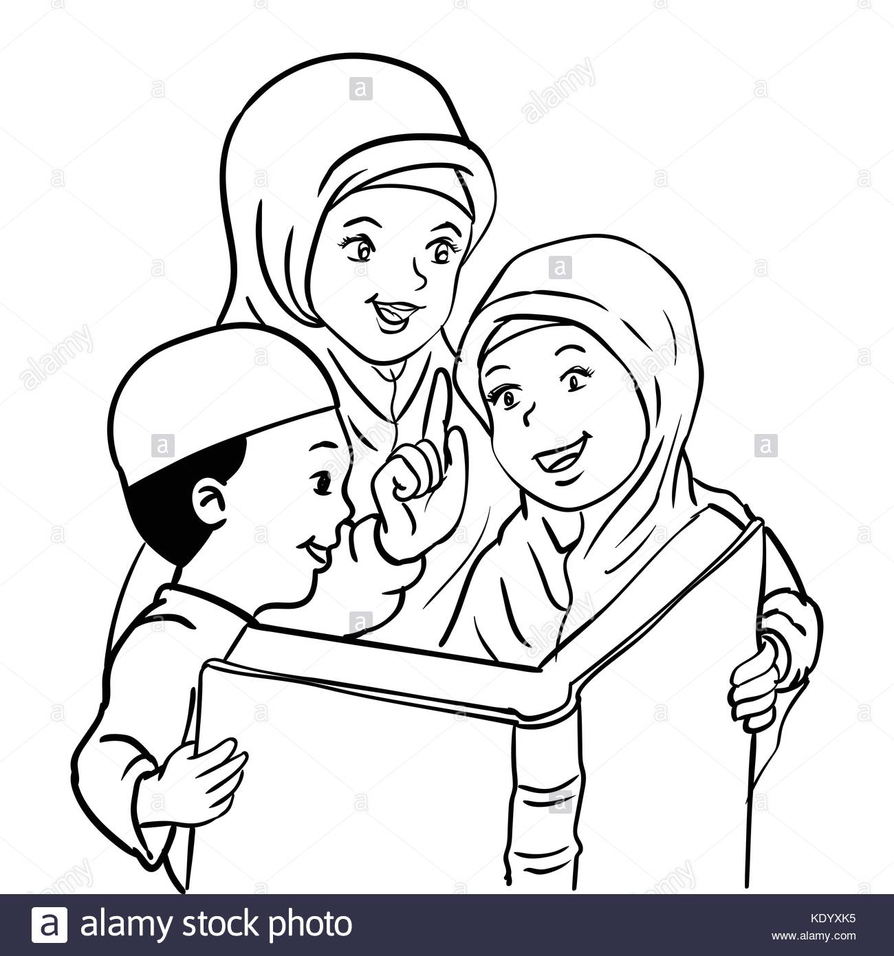 1300x1390 Cartoon Muslim Mother With Son And Daughter Read Book, Kids Read