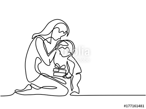 500x375 Continuous Line Drawing. Mothers Day. Child Present Gift To His