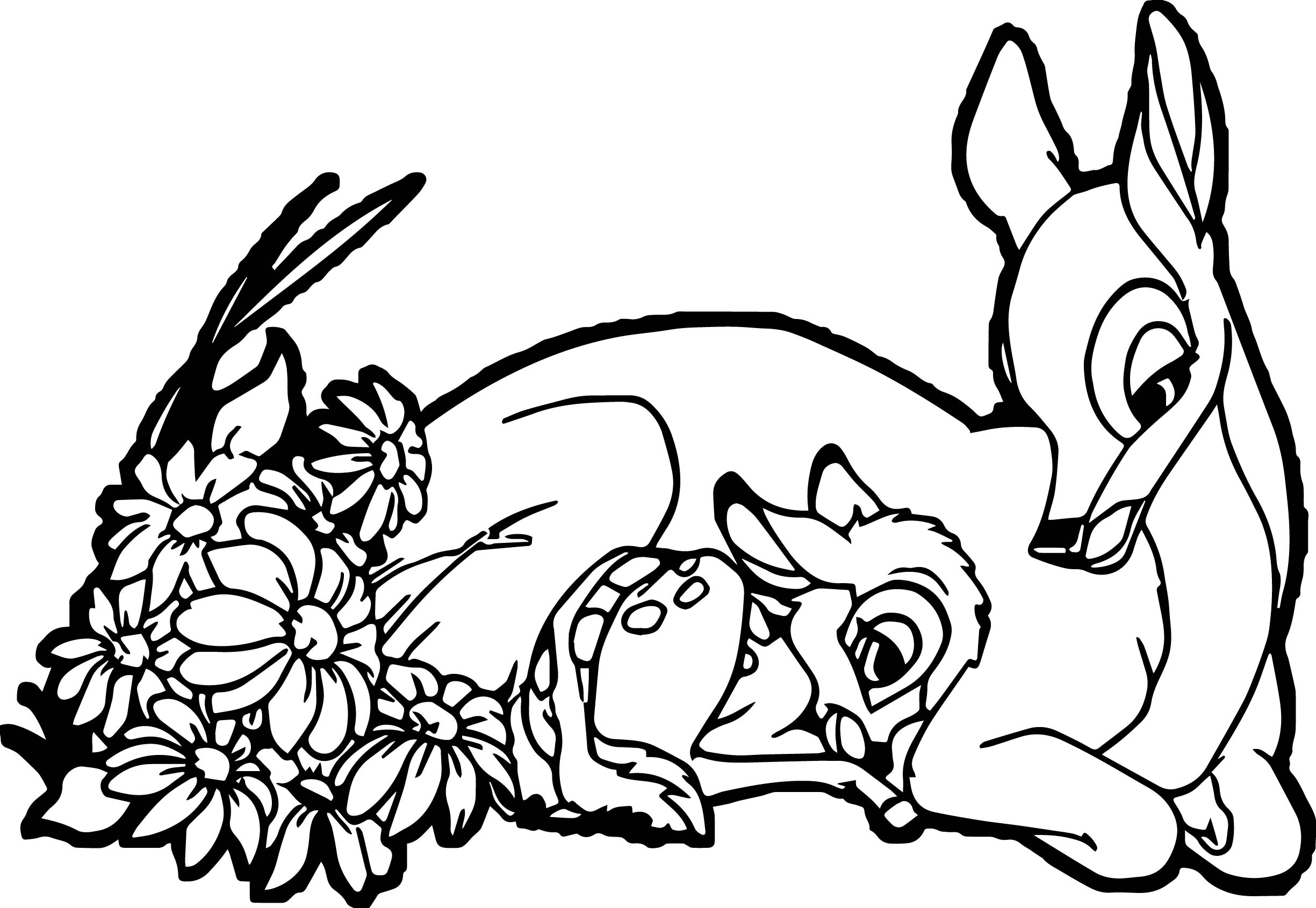 2449x1691 Happy Bambi Mother Child Coloring Page Wecoloringpage