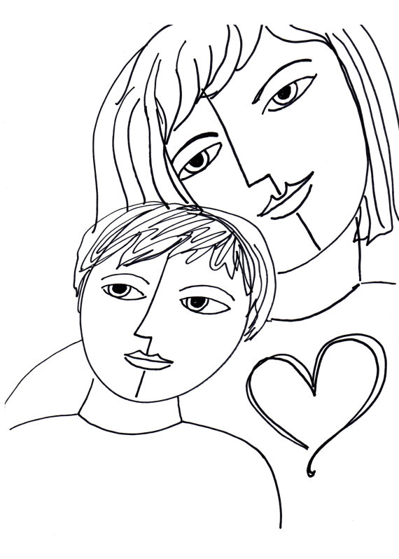 570x798 Mother And Child Drawing