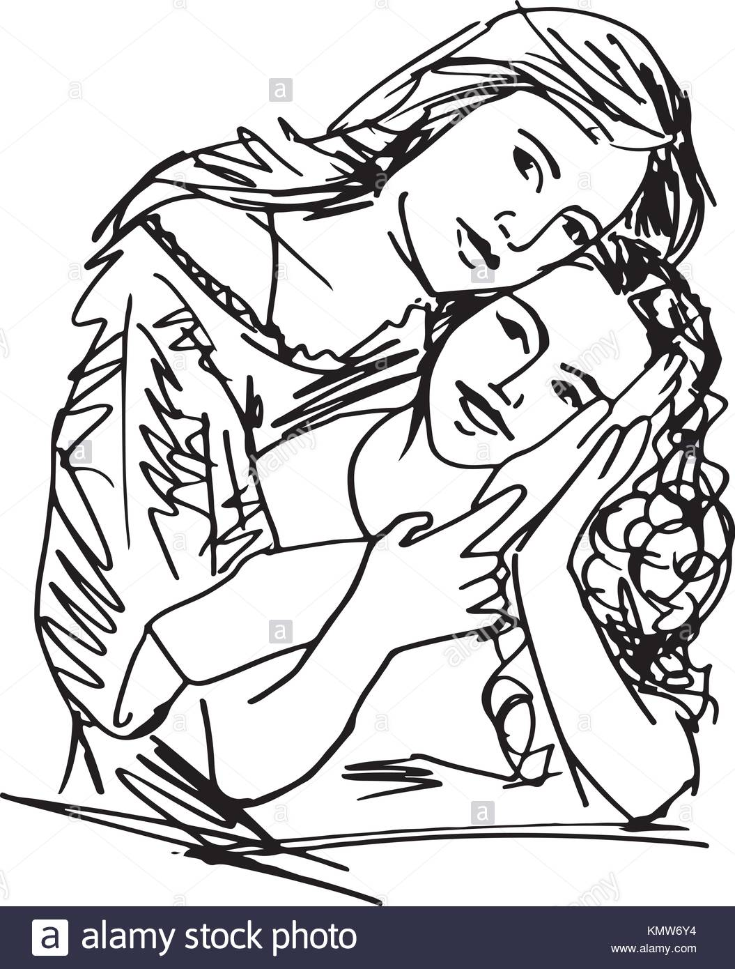 1055x1390 Sketch Of Family Mother And Child Daughter Vector Illustration