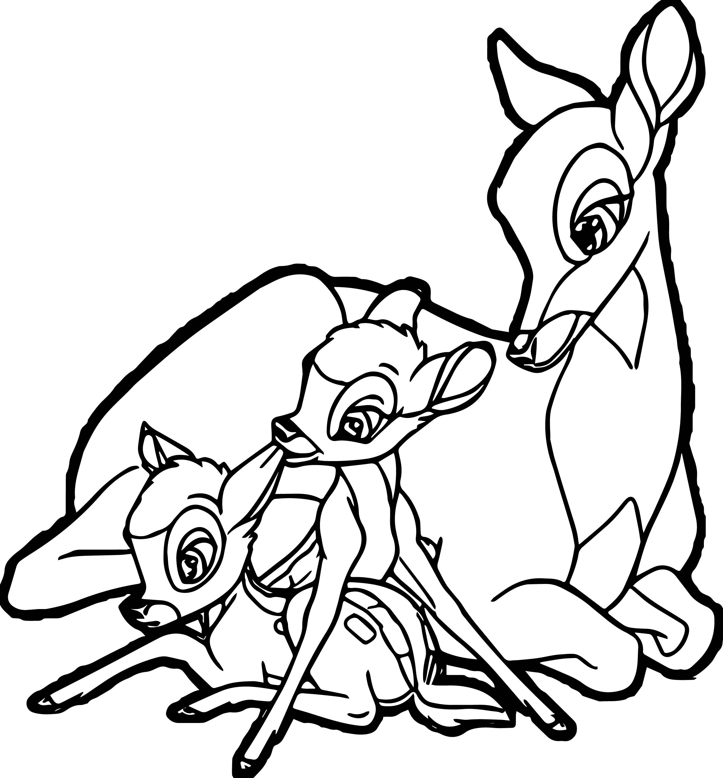 2420x2602 Bambi Mother Child Deers Coloring Pages Wecoloringpage
