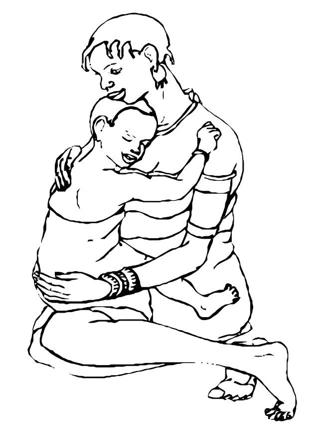 620x875 Coloring Page Mother And Child