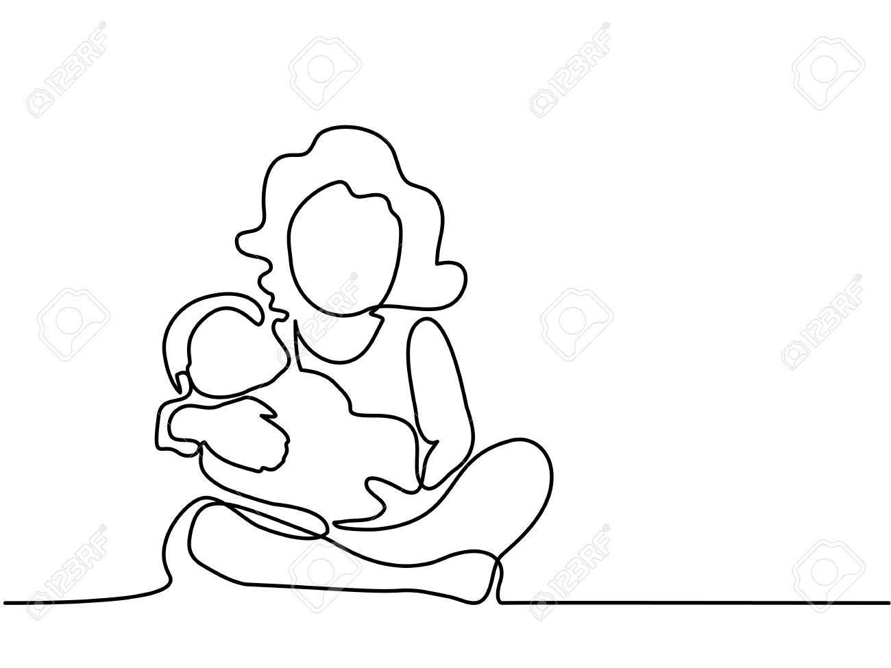 1300x975 Continuous Line Drawing. Mother And Child. Vector Illustration