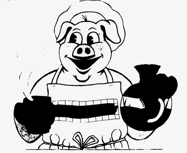 650x530 Hand Drawn Cooking Mother Pig, Mom, Cooking, Mother Pig Png Image