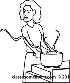 295x350 Mother Cooking Clipart Black And White