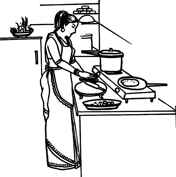 600x602 Mother Cooking Dinner In The Kitchen Coloring Pages