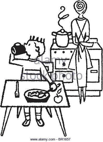 393x540 Mother Son Cooking In Kitchen Black And White Stock Photos