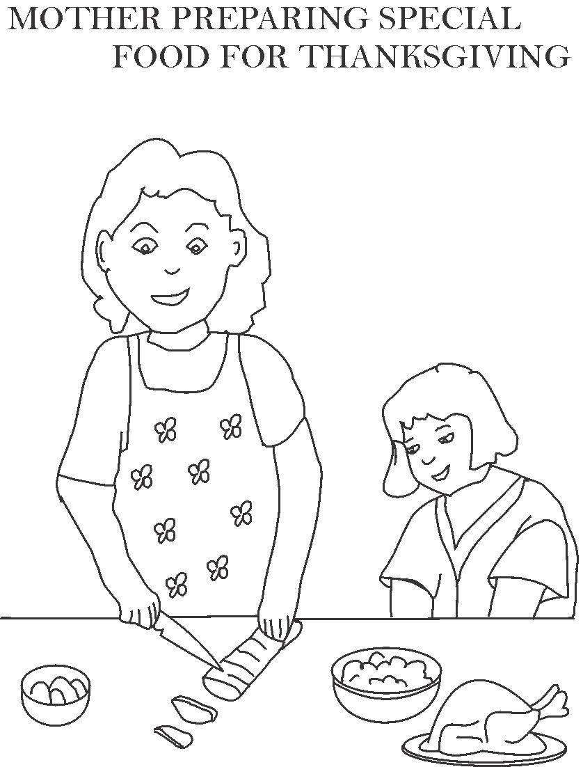 838x1102 Mother Preparing Special Food Coloring Page