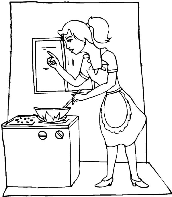 600x689 My Mom Is Cooking In The Kitchen Coloring Pages
