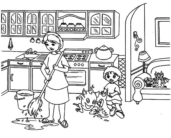 600x485 My Mother Moping Kitchen Floor Coloring Pages