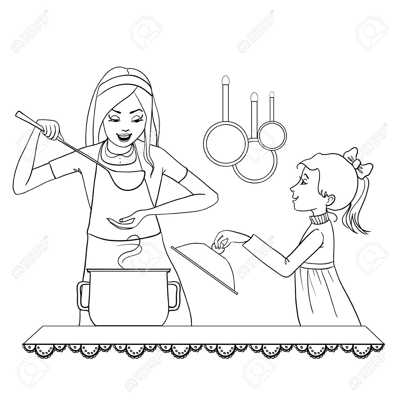 1300x1300 Vector Image Of Mother And Daughter Who Tests Food In The Kitchen