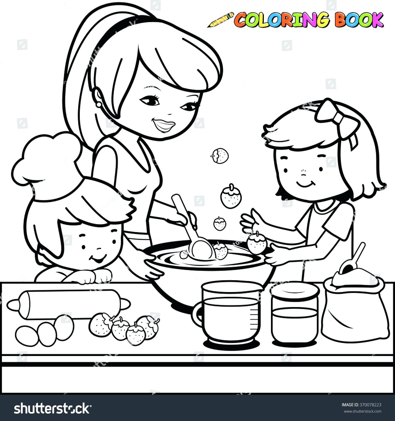 1500x1600 Coloring Kitchen Coloring Page Mother And Children Cooking In