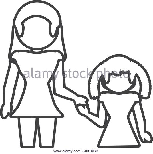 536x540 Mother Daughter Loving Outline Stock Photos Amp Mother Daughter