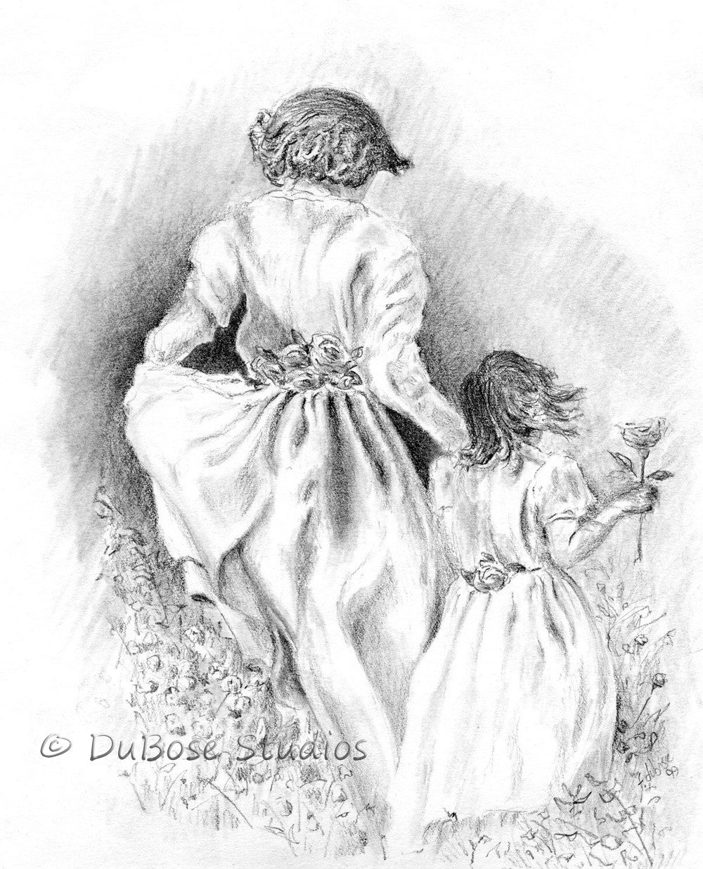 1000x1235 Mother Daughter Pencil Art Mother And Daughter Pencil Drawing