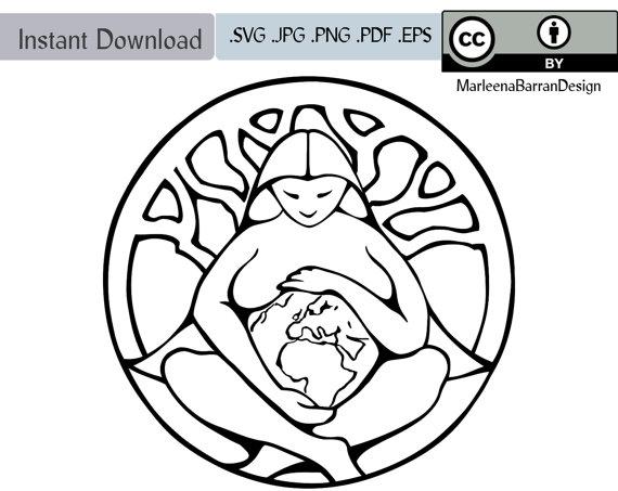 570x453 Mother Earth Goddess Pacha Mama Gaia Line Art Vector