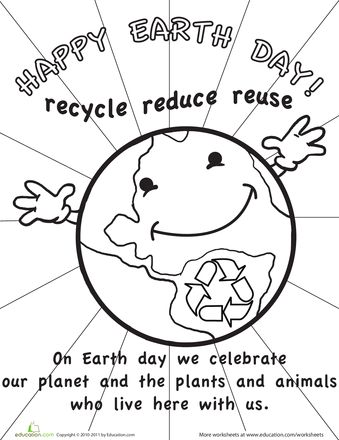 339x440 Color The Earth Day Picture Worksheets
