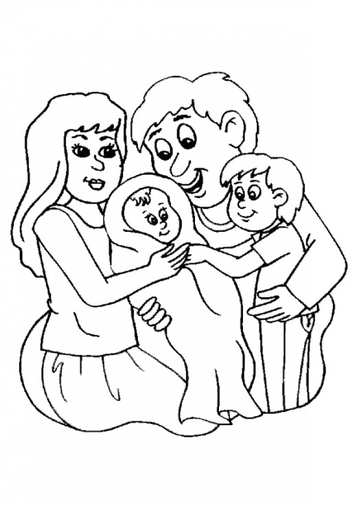520x734 Family Mom Dad And Baby Coloring Page Colouring Book