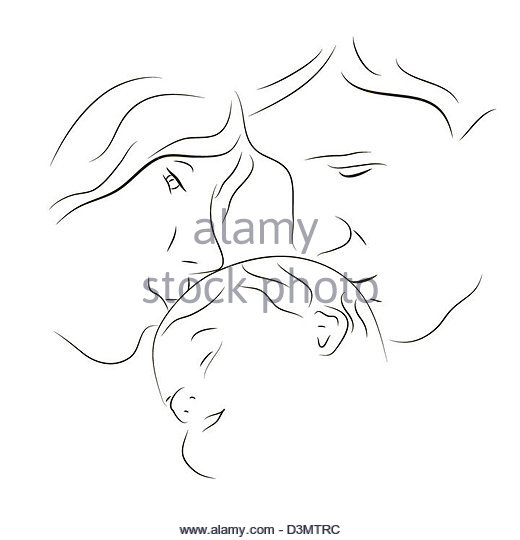 520x540 Hand Drawn Silhouette Mother Son Stock Photos Amp Hand Drawn