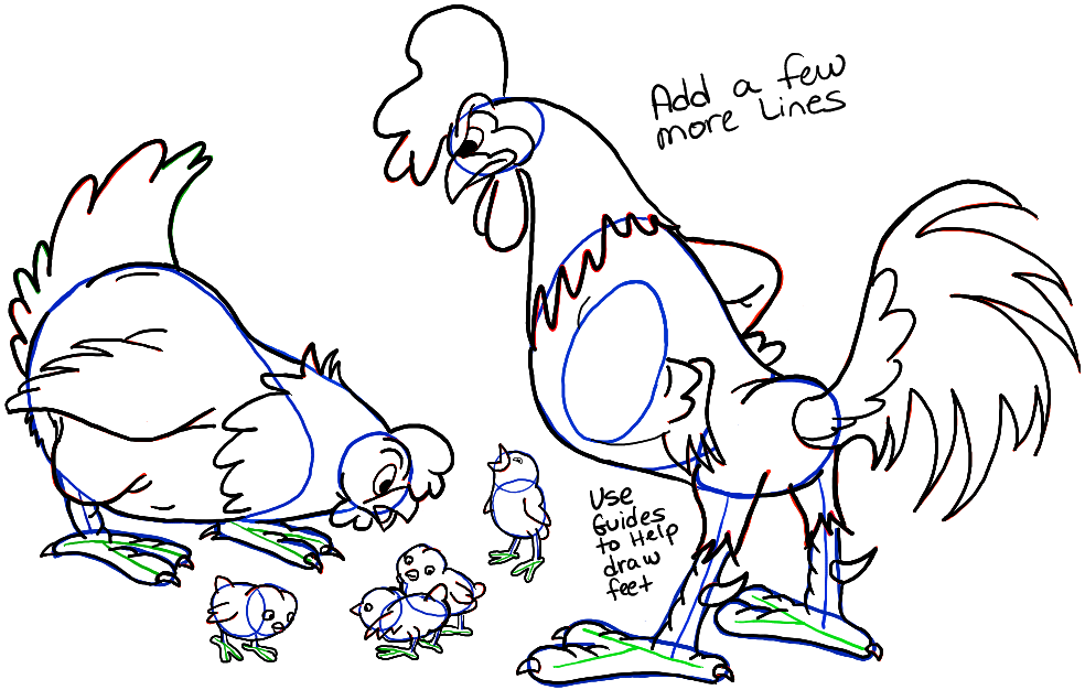 984x626 How To Draw Cartoon Chickens With A Hen, A Rooster, And Baby