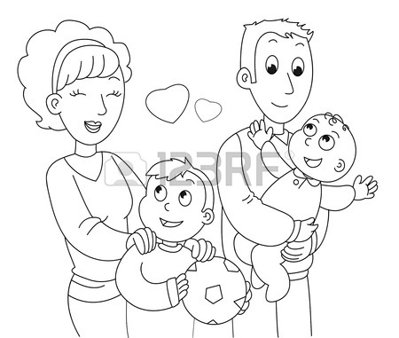 450x381 Mother, Father, Son And Baby. Coloring Illustration. Royalty Free