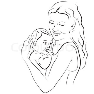 320x320 sketchy vector illustration of a sleeping mother with a baby