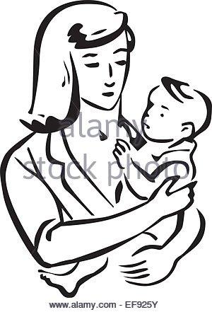 300x441 Drawing Mom Holding Baby Loving Stock Vector Art Amp Illustration