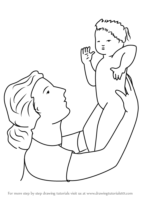 596x843 learn how to draw a women holding child other people step by