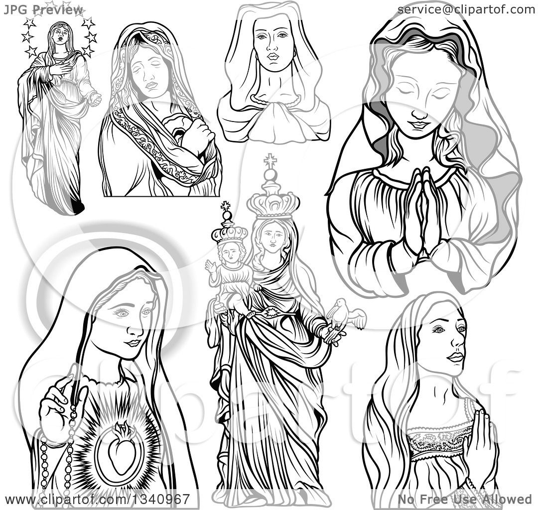 1080x1024 Clipart Of Grayscale Virgin Mary Designs