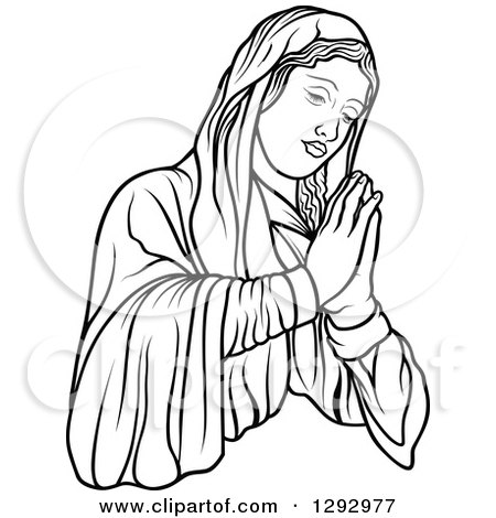 450x470 Clipart Of Blacknd White Virgin Mary Holding Baby Jesusnd