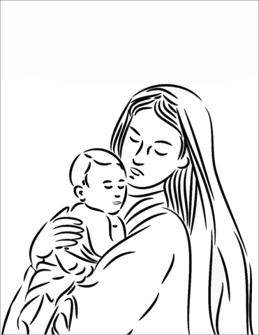 371x480 Mother Mary With Baby Jesus Coloring Page Free Printable