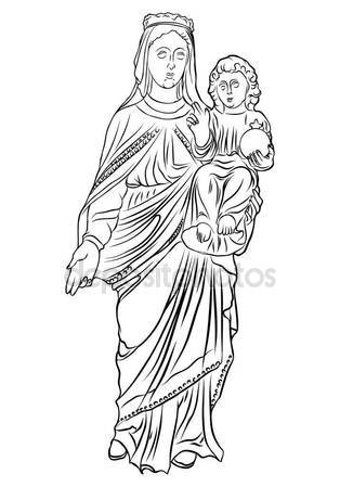 314x449 Mother Mary With Jesus Christ Baby Stock Vector Goldenshrimp