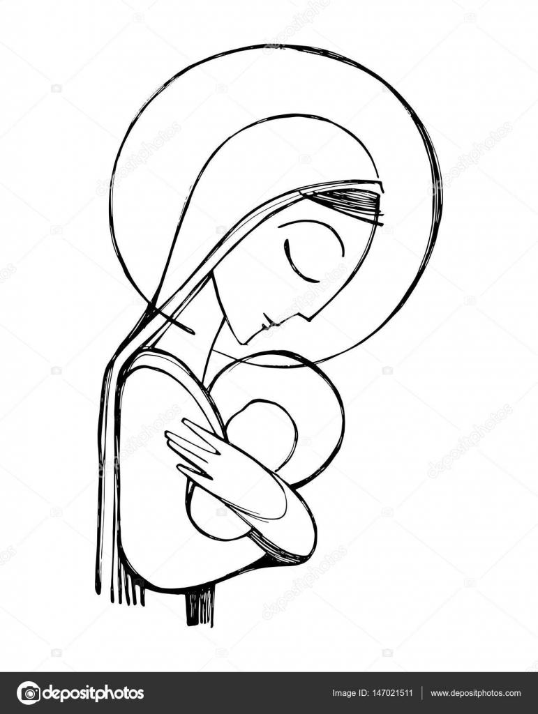 771x1024 Virgin Mary And Baby Jesus Illustration Stock Vector