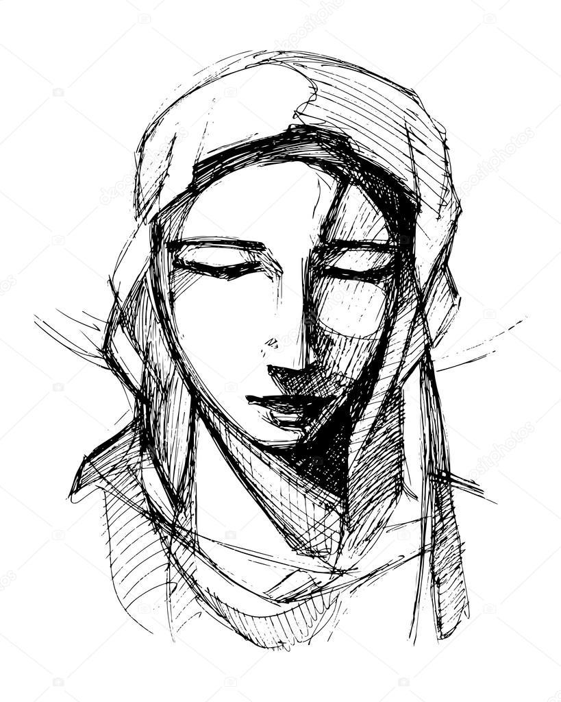 819x1024 Virgin Mary Praying, Sketch Drawing Stock Vector Bernardojbp
