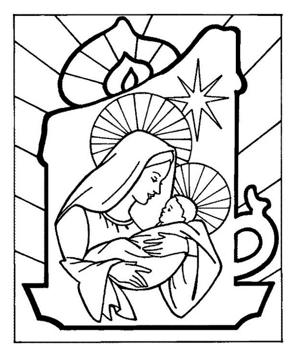 600x721 Baby Jesus And Mother Mary On Christmas Eve On Christmas Coloring