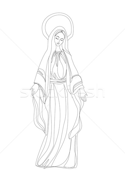 411x600 Blessed Virgin Mary In Black And White Contour Drawing Vector